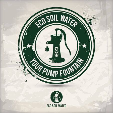 alternative eco pump water fountain stamp containing: two environmentally sound eco motifs in circle frames, grunge ink rubber stamp effect, textured carton paper background,  vector illustration Illustration