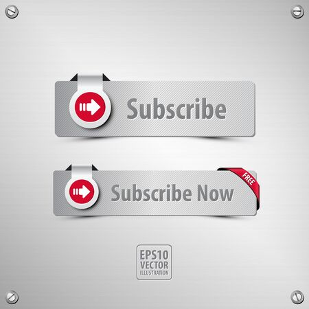 subscribe button set containing two well designed, textured, metallic subscribe buttons, icon, corner ribbon, stainless steel background with screws on the corners, vector illustration, 3d style