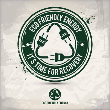 alternative eco friendly energy stamp containing: two environmentally sound eco motifs in circle frames, grunge ink rubber stamp effect, textured paper background, vector illustration