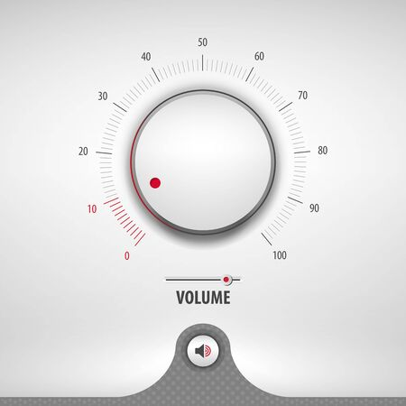 volume for media player containing: two audio app designs, volume control knob, 3d button, textured pattern, stainless steel background, vector illustration Vector Illustratie
