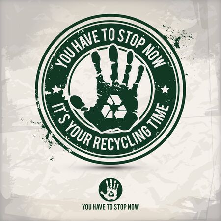 alternative recycling time stamp containing: two environmentally sound eco motifs in circle frames, grunge ink rubber stamp effect, textured paper background,  vector illustration