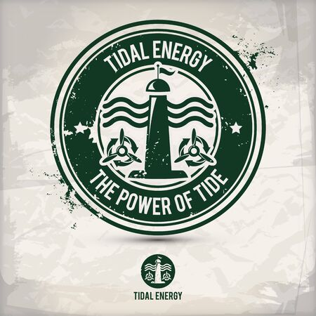 alternative tidal energy stamp containing: two environmentally sound eco motifs in circle frames, grunge ink rubber stamp effect, textured paper background, vector illustration