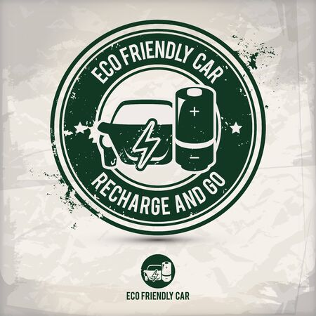 alternative eco friendly car stamp containing: two environmentally sound eco motifs in circle frames, grunge ink rubber stamp effect, textured paper background