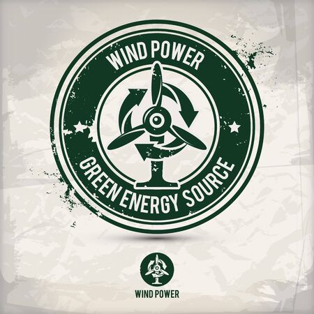 alternative wind power stamp containing: two environmentally sound eco motifs in circle frames, grunge ink rubber stamp effect, textured paper background Stock Illustratie