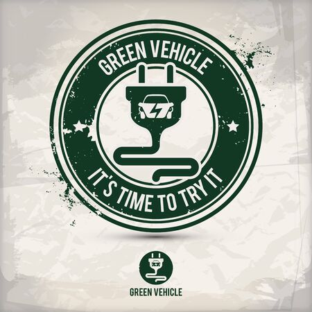 alternative green vehicle stamp containing: two environmentally sound eco motifs in circle frames, grunge ink rubber stamp effect, textured paper background