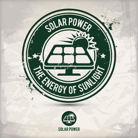 alternative solar power stamp containing: two environmentally sound eco motifs in circle frames, grunge ink rubber stamp effect, textured paper background
