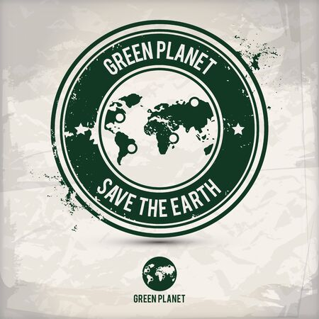 alternative green planet stamp containing: two environmentally sound eco motifs in circle frames, grunge ink rubber stamp effect, textured paper background