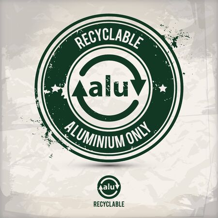 alternative recyclable alu stamp containing: two environmentally sound eco motifs in circle frames, grunge ink rubber stamp effect, textured paper background