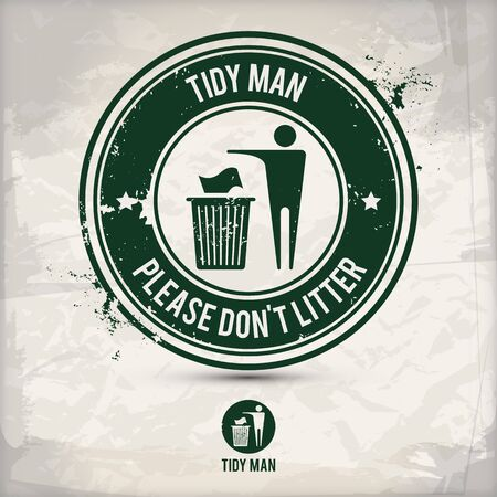 alternative tidy man stamp containing: two environmentally sound eco motifs in circle frames, grunge ink rubber stamp effect, textured paper background Illustration