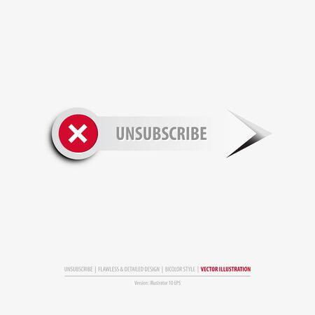 Isolated unsubscribe button on clean gray background
