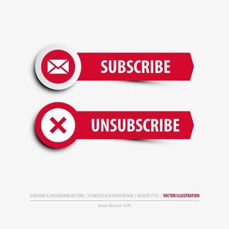 subscribe and unsubscribe buttons containing: two differently designed isolated web buttons, subscribe and unsubscribe symbols, flat, minimal, material design style