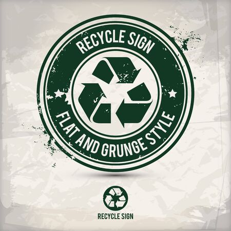 alternative flat recycle sign stamp containing: two environmentally sound eco motifs in circle frames, grunge ink rubber stamp effect, textured paper background