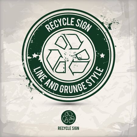 alternative line recycle sign stamp containing: two environmentally sound eco motifs in circle frames, grunge ink rubber stamp effect, textured paper background