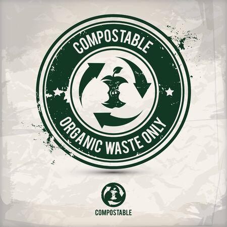 timbre de déchets compostable alternatif contenant : deux motifs écologiques respectueux de l'environnement dans des cadres circulaires, effet de tampon en caoutchouc à l'encre grunge, fond de papier texturé Vecteurs