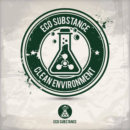 alternative eco substance stamp containing: two environmentally sound eco motifs in circle frames, grunge ink rubber stamp effect, textured paper background