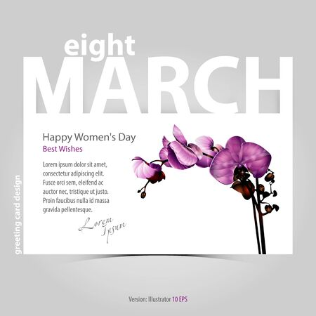 international women's day greeting card design, celebration banner, hand drawn realistic orchid flower on white paper, stylized low poly art
