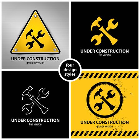 set of under construction symbols containing four unique design elements in different variations: gradient, flat, line and grunge style Illustration