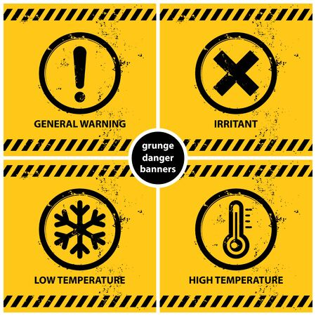 set of grunge warning banners containing four official international hazard symbols