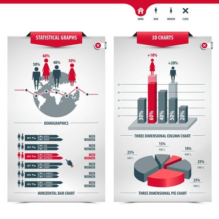 set of charts and demographics containing statistical graphs, info graphic elements, icons, 3d charts, column chart, pie chart, horizontal bar chart, line graph, globe shape