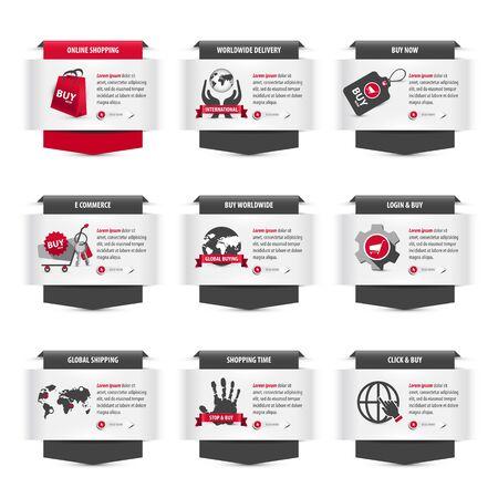 set di miniature web con simboli di e-commerce, nastri grigi e rossi con titoli, icone, testi di esempio per la descrizione e pulsanti leggi altro ben progettati