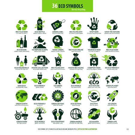 collezioni di simboli piatti eco-compatibili, icone altamente dettagliate, elementi web di progettazione grafica, concetto ecologico alternativo, emblemi isolati su sfondo bianco pulito Vettoriali
