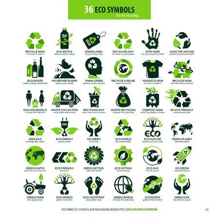 Sammlungen von umweltfreundlichen flachen Symbolen, hochdetaillierte Symbole, Grafikdesign-Webelemente, alternatives ökologisches Konzept, isolierte Embleme auf sauberem weißem Hintergrund Vektorgrafik