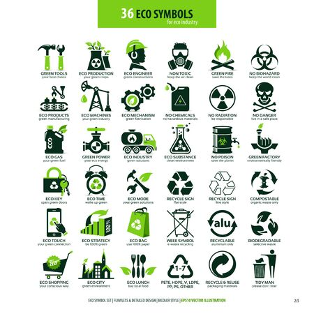 collecties van eco-vriendelijke platte symbolen, hoog gedetailleerde pictogrammen, web-elementen voor grafisch ontwerp, alternatief ecologisch concept, geïsoleerde emblemen op schone witte achtergrond