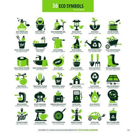 colecciones de símbolos planos ecológicos, iconos altamente detallados, elementos web de diseño gráfico, concepto ecológico alternativo, emblemas aislados sobre fondo blanco limpio