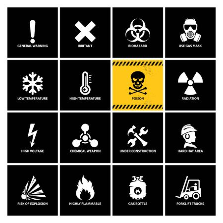 vector set of warning icons, isolated flat style danger emblems, illustration of white danger symbols on black backgrounds, all the white signs can be used on the yellow striped sample banner as well