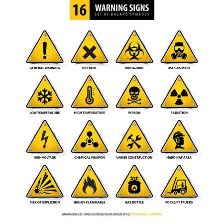 vector set of warning signs, collection of hazard symbols, 16 high detailed danger emblems, isolated 3d triangle shapes, gradient style design, illustration of yellow danger boards on white background Ilustração