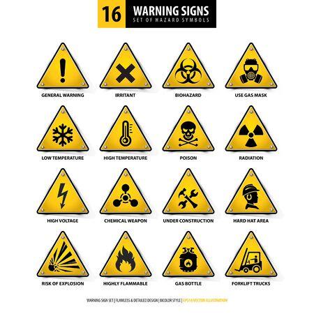wektor zestaw znaków ostrzegawczych, zbiór symboli zagrożenia, 16 szczegółowych emblematów niebezpieczeństwa, izolowane kształty trójkątów 3d, styl gradientu, ilustracja żółtych tablic niebezpieczeństwa na białym tle Ilustracje wektorowe