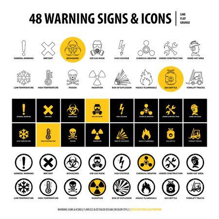 ensemble d'images vectorielles de panneaux d'avertissement et d'icônes, 48 emblèmes de danger isolés, collection de symboles créatifs en ligne, plat, conception de style grunge, illustration de formes et d'éléments industriels sur fond blanc