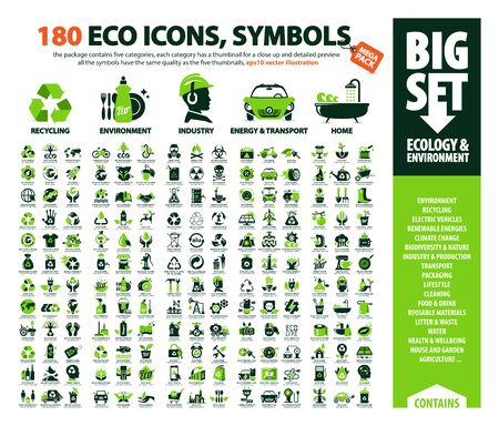 big vector set of Eco icons, huge pack of ecology & environment themes: alternative renewable energy sources, global warming, climate change, recycling, air pollution, plastic waste, greenhouse effect