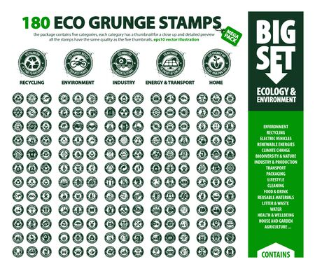 grote vectorset van Eco-pictogrammen, enorm pakket ecologie- en milieuthema's: hernieuwbare energie, opwarming van de aarde, recycling, plastic afval, de vijf miniaturen bevatten inktdruppels die op elke postzegel kunnen worden gebruikt Vector Illustratie