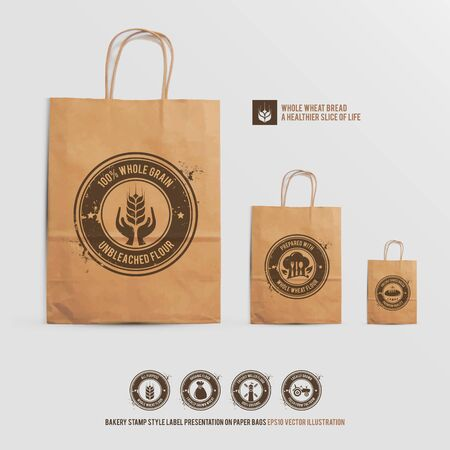 whole wheat bread brand identity mock up set, bakery stamp style label presentation on paper shopping bags, the logotype stamps on the realistic mockup bags contain transparencies, vector illustration