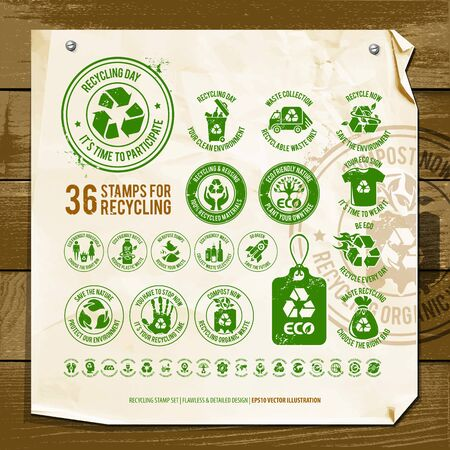 vector set of recycling symbols, collection of environment friendly signs, go green design elements for eco friendly themes, the illustration contains an old textured paper and vintage wood background