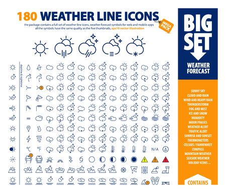 big vector set of thin line weather icons, huge pack of weather forecast design elements, complex presentation of isolated day & night weather symbols, the package contains a bonus holiday set as well