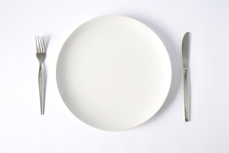 serving: knife and fork with plate