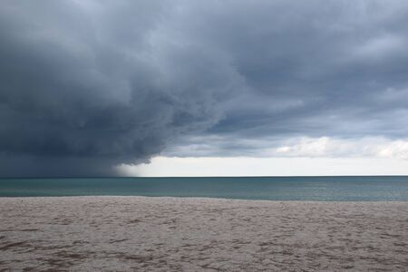 Rain clouds in the sea while a rain storm is coming. Stockfoto
