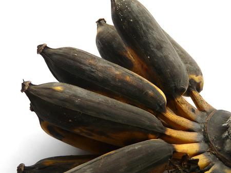 overripe: Overripe (rotten) bananas on white background. Stock Photo