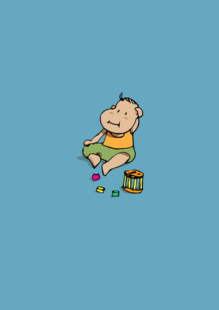 baby playing toy: Playing baby in blue background Illustration