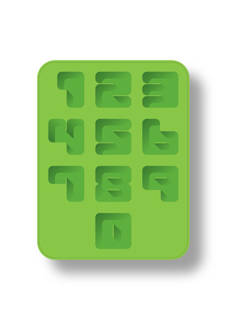 big five: Number 0-9 in silicon green ice tray style.
