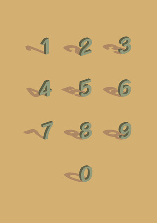 Vintage color style of 3D number with shadow. Vector