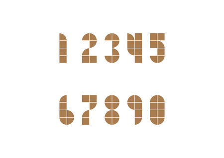 web 2 0: Two dimension geomatic style number in brown color
