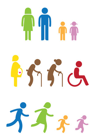 spouse: man woman kids old pregnant handicap symbol icon