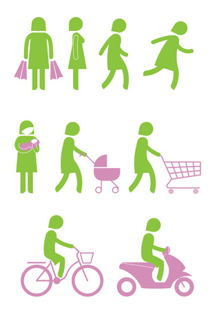 Green woman icon in various actions. Vector
