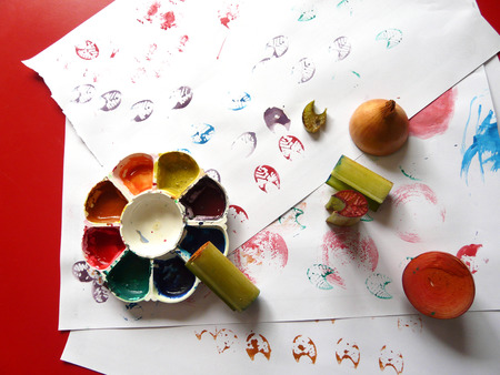 stamping: Banana stalk colorful stamping kids art