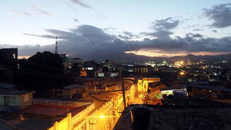 Skyline of Santiago de Cuba at sunset February 2019 Cuba