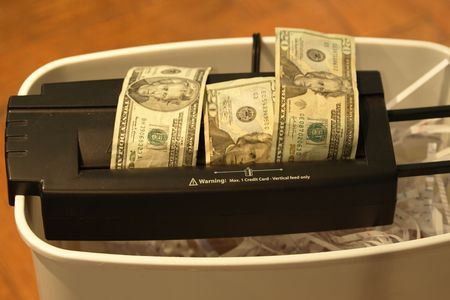 shreded: Photo of money being shreded