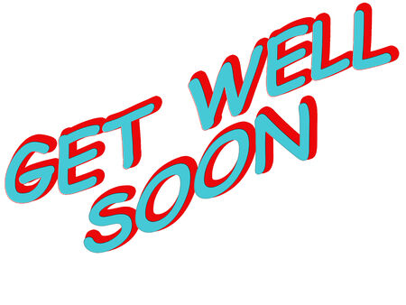 """일러스트레이션 단어 """"Get Well Soon"""" 일러스트"""